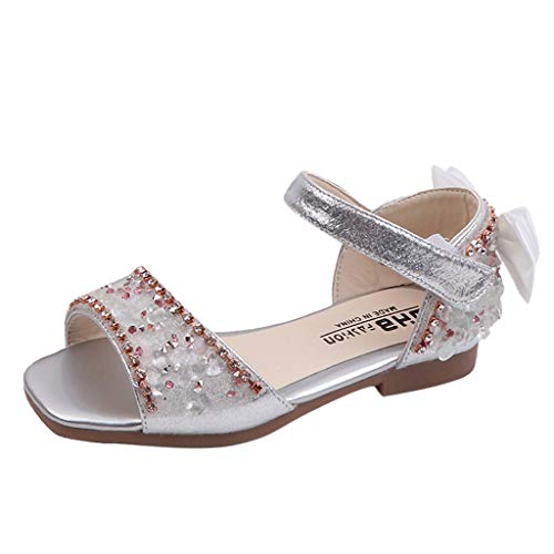 Tantisy ♣↭♣ Girls Crystal Princess Sandals/Bowknot Single Shoes/Sweet Dancing Shoes (Toddler/Little Kid/Big Kid) Silver ()