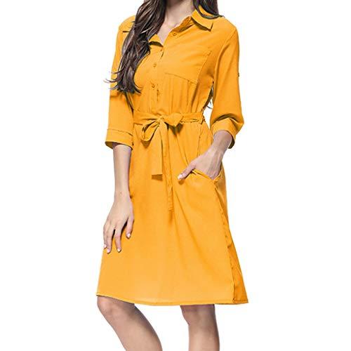 Caopixx Summer Dress for Women Work Fashion Solid Print Slim Cropped Sleeve Shirt Dress with Belt Yellow