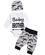 Angebebe 3PCS Baby Boy Outfit Set Baby Brother Dinosaur Tops Pant Romper