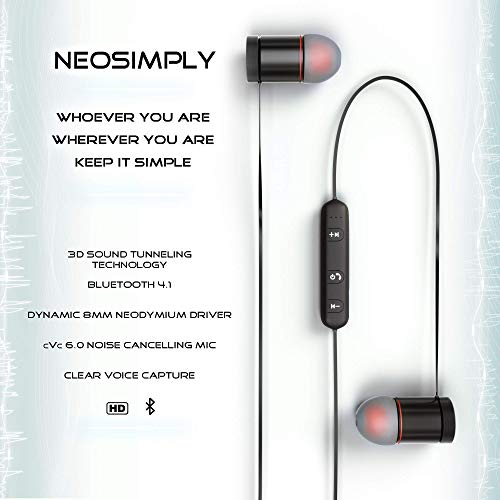 NeoSimply Wireless Headphones - Perfect for Smart Phones, Tablets, Laptops - Bluetooth 4.1 Magnetic Earbuds - Best for Office, Home, Safe Car Driving, Enjoying Music, All Sports, Clear Phone Talk by NeoSimply (Image #4)