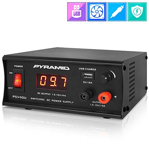 Universal Compact Bench Power Supply – 4 Amp Regulated Benchtop AC-DC Converter Power Supply for CB Radio, HAM w/ 120/240V AC Switchable to 1.5V-15 Volt DC, USB, Digital LCD Display – Pyramid PSV40U