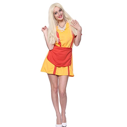 [2 Broke Girl Waitress Costume Fancy Dress M uk 8 10] (Womens Halloween Costumes Uk)