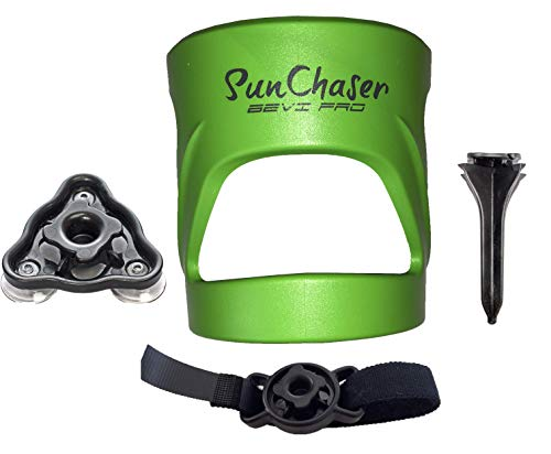 SunChaser Bevi Pro Outdoor Drink Holders for Beer Cans, Bottles, Cups, and Other Beverages - Great Gift for Him (Mean Green) ()