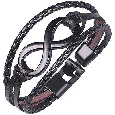 ZHUJING Couple bracelet Fashion Charm Bangle Bracelet Multilayer Punk Leather Bracelet Men And Women Wristband Charm Friendship Bracelet Estimated Price £21.99 -