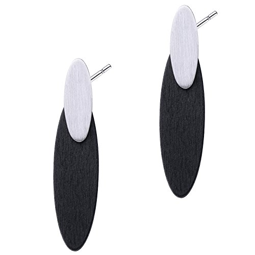 Shape Dangling Oval Ring (BABEYOND Women's Geometric Shape Wooden Dangling Earrings Ear Stud Fashion Jewelry (Oval-black))