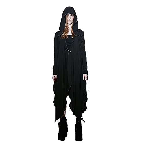 Punk Witch Costumes (Steampunk Womens Long Hooded Coats Gothic Sweep Witch Gown Halloween)