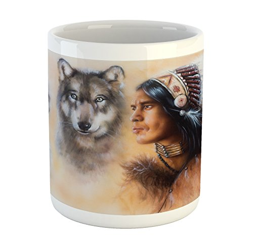 Ambesonne Native American Mug, Blur Mystic Painting of Young Native Man Ethnic Feather with Wolves Ancient, Printed Ceramic Coffee Mug Water Tea Drinks Cup, Multicolor