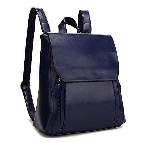 Mochila de Cuero PU Mujer Moda Mochilas tipo casual Mochila De Viaje bolsos de viaje Daypack Bolsas De Escuela Broncearse Bolsos Mochila Azul Bolsos Mochila