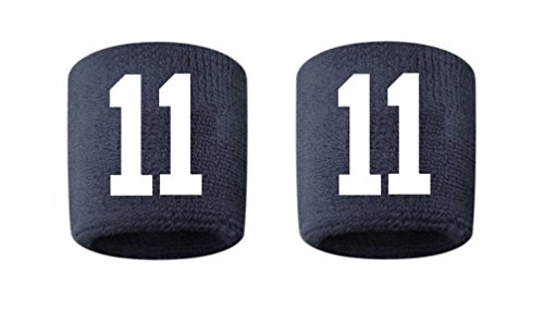 - #11 Embroidered/Stitched Sweatband Wristband NAVY BLUE Sweat Band w/ WHITE Number (2 Pack)