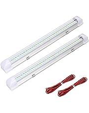 Oświetlenie wewnętrzne listwa oświetleniowa uniwersalna do samochodu kempingowego vana autobusu przyczepy kempingowej łodzi kampera kuchni łazienki 340 mm (72 diody LED 12 V-24 V) z 2 przedłużaczem (2 szt.)