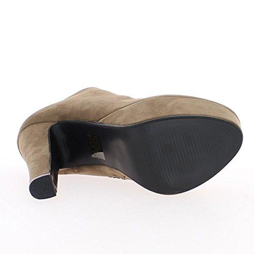 Stivali tortora 14cm con ripiano e chiusura lampo tacco alto