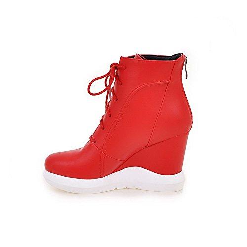 AllhqFashion Damen Niedrig-Spitze Reißverschluss Hoher Absatz Schließen Zehe Stiefel Rot