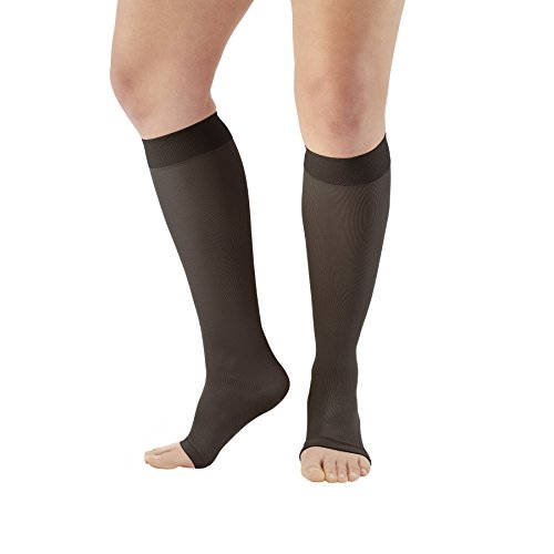 Ames Walker AW Style 213 Microfiber Opaque 20-30 Firm Compression Open Toe Knee High Stockings Black Medium - Relieves pain of tired aching legs and mild varicose veins - Post sclerotherapy treatment by Ames Walker