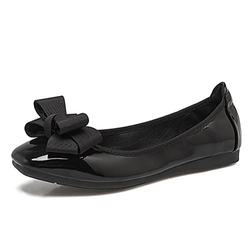 Meeshine Womens Foldable Bow Slip On Ballet Flats Dress Shoes(9.5 B(M) US,Black 01) (Black Bow Flat)