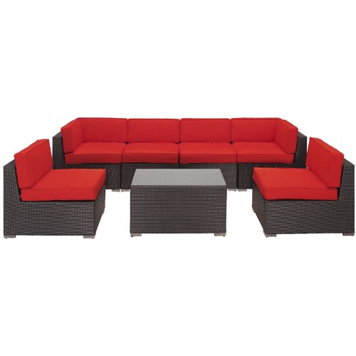 LexMod Aero Outdoor Wicker Patio 7-Piece Sectional Sofa Set in Espresso with Red Cushions