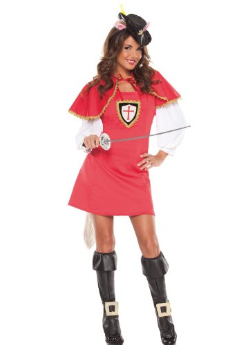 [Coquette Women's Musketeer Puss In Boots Costume Red/Black Small/Medium] (Women Musketeer Costumes)