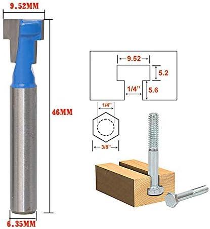 """NO LOGO ZZB-ZT, 1 stück 1/4""""Zoll Schaft t-Slot schlüsselloch Cutter Holz fräser hartmetall Cutter for Holz 6,35mm Schaft t-Track Schlitz fräser (Size : As Show)"""