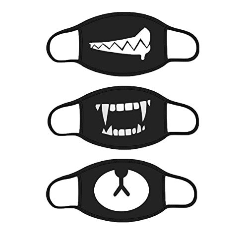 IMIKE Pack of 3 Mouth Mask for Men and Women,Anti-dust Cotton Mouth Cover Teeth Pattern Cute Face Masks for Running Cycling ()
