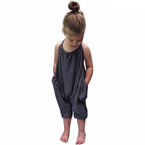Gemgeny Baby Grey Summer Cute Jumpsuits for Girls Kids Harem Strap Romper Jumpsuit Toddler One Piece Pants Trousers Clothes Size 3-4T