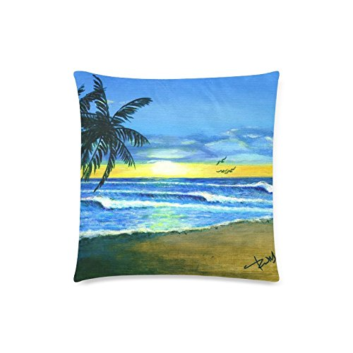Pillowcase With Zipper Both Side Print Home Decorative For Sea Waves Palm Trees 1 18x18Inch (Palm Side Case)