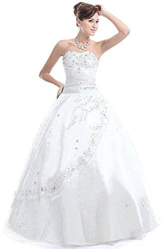 Perlen Abendkleid Weiß Kmformals Ballkleid Organza Damen Lange Oxw1qp7