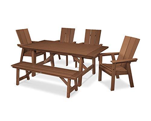 - POLYWOOD Modern Adirondack 6-Piece Rustic Farmhouse Dining Set with Bench (Teak)