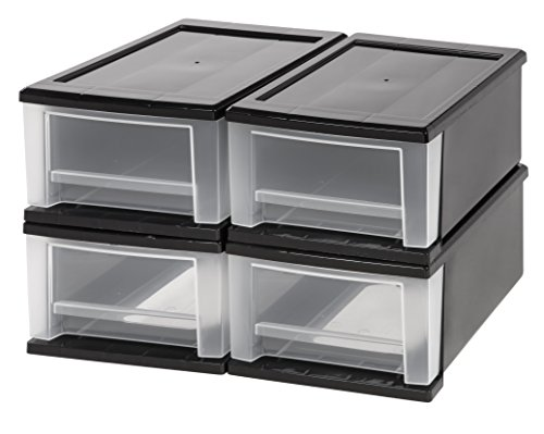 IRIS 7 Quart Stacking Drawer, 4 Pack, Black - Open Sink Chest