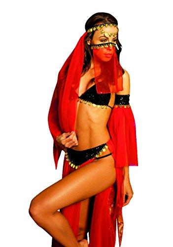 [Elawin Women Red Gauzy Belly Dancer Costume Sexy Lingerie (Small)] (Red Belly Dancer Costume)