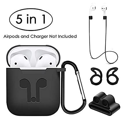 a14e07ebb6c Amazon.com: Jinxtech 5 in 1 Protective Case for Airpods Case Silicone Cover  and Skin Compatible with Apple Airpods 1 & 2(Black): Home Audio & Theater