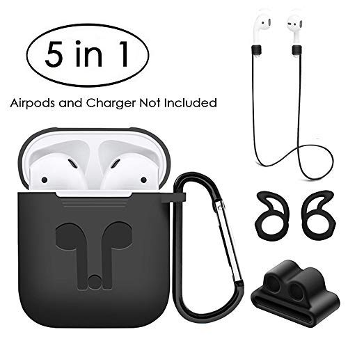 Jinxtech 5 in 1 Protective Case for Airpods Case Silicone Cover and Skin Compatible with Apple Airpods 1 & 2(Black)