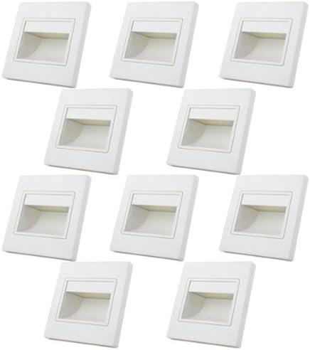 MENGS® COB LED, 10 puntos de luz led de pared y escalera de 1W, para iluminación nocturna que ofrecen una luz blanca cálida de 3000 K, un ángulo de emisión 140°, 110