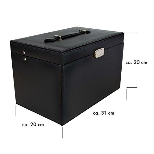 VENKON - Universal Schmuckbox mit Spiegel & 4 Schubladen für Schmuck & Kosmetik Aufbewahrung & Präsentation - Kunstleder Schwarz - 31 x 20 x 20 cm -