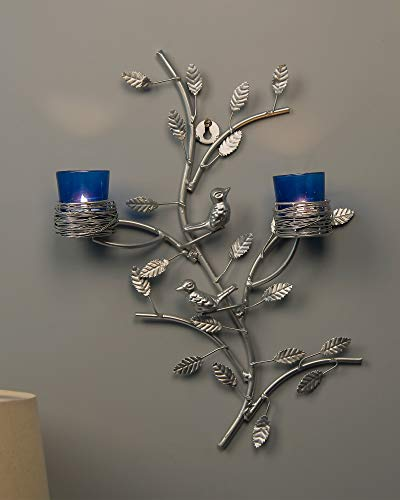 Silver Tree with Bird Nest Votive Stand Blue, Wall Candle Holder and Tealight Candles ()