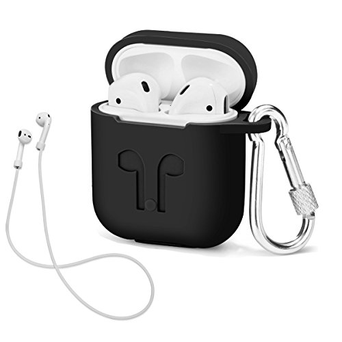 LIKDAY AirPods Case with Strap Protective Silicone Cover with Carabiner for Apple Airpods Accessories ( Black )