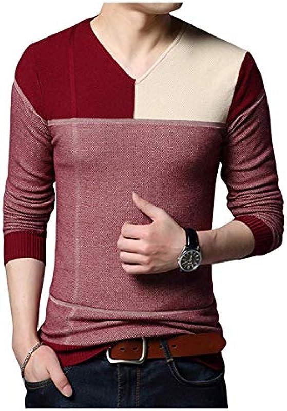 HX fashion męski sweter dziergany sweter z dekoltem V wiosna jesień elegancki wygodny rozmiar długi rękaw sweter z dzianiny ubranie: Odzież
