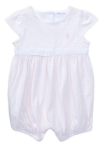 - Ralph Lauren Baby Girl Striped Cotton Jersey Romper (24 Months, Delicate Pink/White)