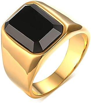 RVXZV Anillo Hombres Joyas de Piedras semipreciosas Acero Titanio Color Oro Joyas de Moda