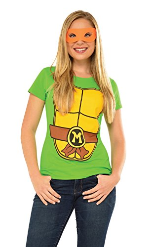 Rubie's Costume Teenage Mutant Ninja Turtles Top With Mask and Michelangelo, Green, Small (Ninja Turtles Costume For Women)