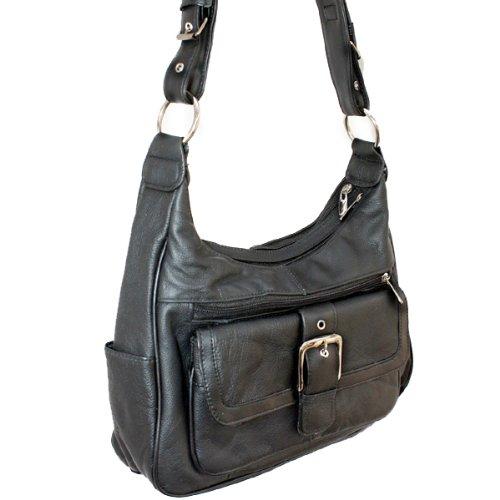Italian BLACK Leather Shoulder Hobo Handbag Belt Buckle Flip Pocket Adjustable Shoulder Drop, Bags Central