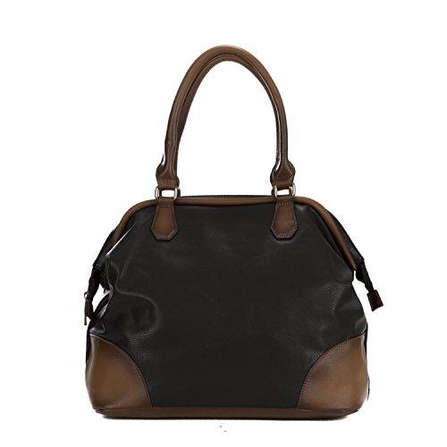 Handbag Republic Vegan Women's PU Leather Fashion Handbag Top Handle Satchel Style Old Vintage Doctor Bag