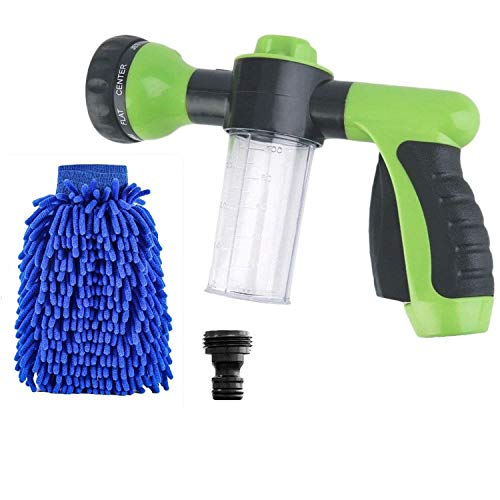 Buyplus Hose Foam Sprayer - [Upgraded] Garden Water Hose Snow Cannon Foam Nozzle Soap Dispenser Gun Wash Mitt, Cleaning Cannon, 8 Watering Pattern Car Washer, Pets Shower, Plants Watering