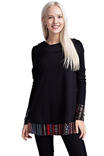 Cuff Tunic (SHOPGLAMLA V-Neck Loose Fit Side Pocket Tunic Top Multi Print Cuff Hoodie - (Rayon/Spandex) Black L)