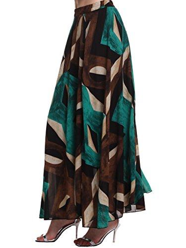 AMORETU Falda larga falda Para Mujer Bohemio Largo Falda plisada Long Skirt multicolor 3208