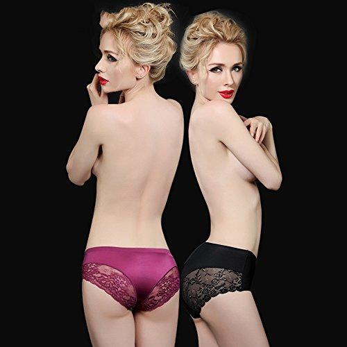 Ropa interior respirable de las señoras atractivas del algodón del cordón (2 cargadas) ( Color : 18 , Tamaño : XXL ) 12