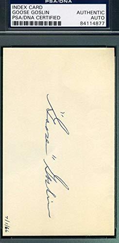 GOOSE GOSLIN PSA DNA COA Autograph 3x5 Signed Index Card