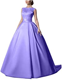 Amazon purples wedding dresses wedding party clothing womens satin a line sleeveless lace wedding gowns long bridal dresses junglespirit Images