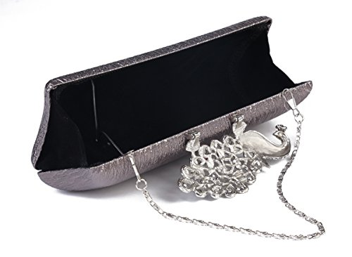 Handbag Hardcase Rhinestone Silver Womens Clutch Clasp Cocktail Damara Evening Peacock w8ZITq1