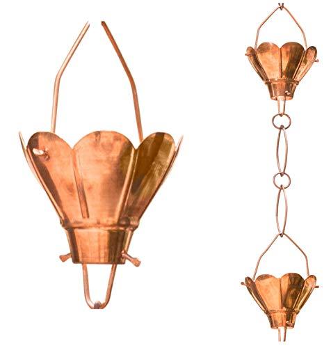 Copper Rain Chain Gutter - Monarch Rain Chains 17001 Sakura Copper Rain Chain