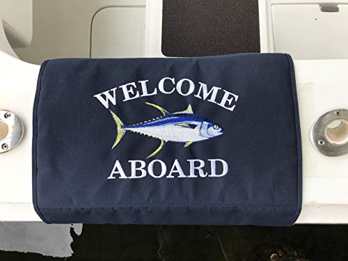 (Yellowfin Tuna Boat Mat | Custom Embroidered Boarding Mat | Game Fish Boat Mat | Sunbrella Gunwale Mat)