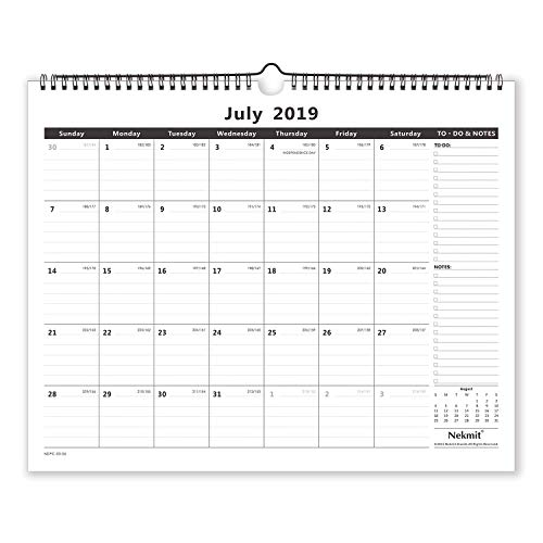 Nekmit 2019-2020 Academic Year Monthly Wall Calendar, 15 x 12 Inches, Wirebound, Black